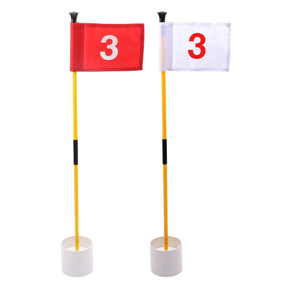 KINGTOP Practice Putting Green Flagstick, Portable Golf Pin Flags, 2-Section Design, Indoor/Outdoor, 2 Sets, Solid Red Flag and Solid White Flag, Both Numbered #3