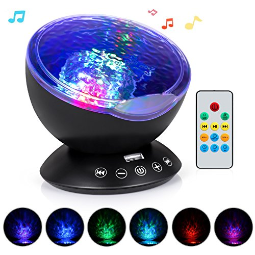 Ocean Led Plug (Adoric Ocean Wave Night Light Projector 12 LED & 7 Colors Kids Night Light with Built-in Mini Music Player and Remote Control for Living Room Bedroom)