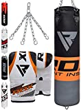 RDX Punching Bag for Boxing Training - Filled Heavy Bag Set with Punch Gloves and Hanging Chain - Great for Grappling, MMA, Kickboxing, Muay Thai, Karate, BJJ and Taekwondo - Available in 4FT/5FT