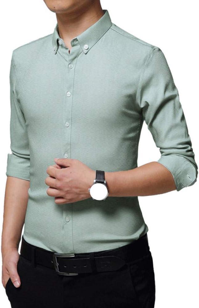 Formal para Hombre Camiseta Hombres Camisa Casual para Hombres Slim Fit Manga Corta Moda Negocio, Green-M: Amazon.es: Ropa y accesorios