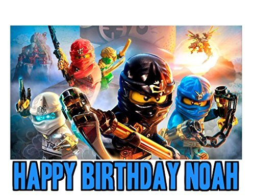 Ninjago Image Photo Cake Topper Sheet Personalized Custom Customized Birthday Party - 1/4 Sheet - 75867 (Samurai Candle Holder)