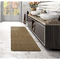 Sweethome Stores LST6001-2X6 Shag Runner Rug, 22x6, Beige Solid