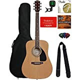 Fender FA-100 Dreadnought Acoustic Guitar - Natural Bundle with Fender Play and Austin Bazaar Instructional DVD