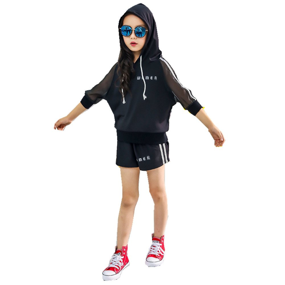 FTSUCQ Girls Trendy Gauze Striped Hoodie Printed Shirt Top + Shorts + 3PCS Floral Handkies,Black,110