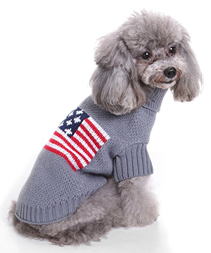MaruPet Christmas Dog Ribbed Knit Sweater Knitwear Turtleneck Snowflake Kintted Doggie Halloween Hoodies Apparel for Teddy, Pug, Chihuahua, Shih Tzu, Yorkshire Terriers, Papillon A-USA Flag M ()