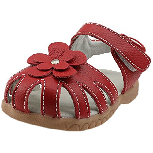 Orgrimmar Girls Sandals Genuine Leather Soft Flower Princess Flat Shoes Girl Summer Sandals Closed Toe Shoes(8.5 M US Toddler,red)