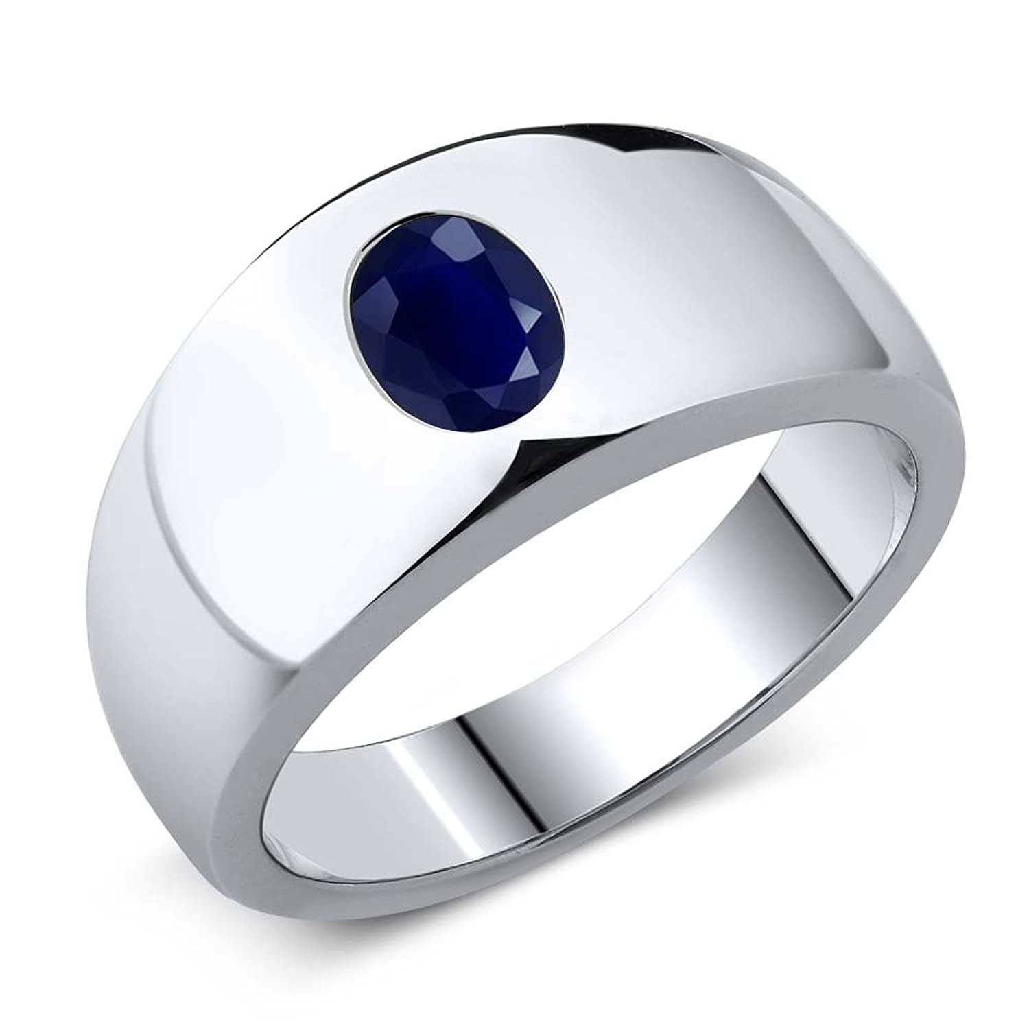 1.79 Ct Oval Natural Blue SI1/SI2 Sapphire 925 Sterling Silver Men's Ring ( Available in size 7, 8, 9, 10, 11, 12, 13)