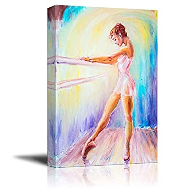 Canvas Prints Wall Art - Beautiful Young Ballerina/Ballet Dancer in Oil Painting Style | Modern Wall Decor/Home Art Stretched Gallery Canvas Wrap Giclee Print & Ready to Hang - 12