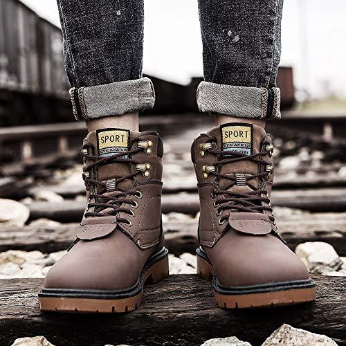 Botties Homme Boots Lacet Basse Marron1 Bottines Cheville Automne Respirant À Bottes Chaud Hiver Décontractée Retro Cuir Fantaisiez Chaussures Rond Travail Bout TaP5Fxqwn