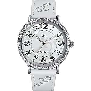 GO Girl Only 697763 - Reloj analógico de cuarzo para mujer con correa de piel, color blanco