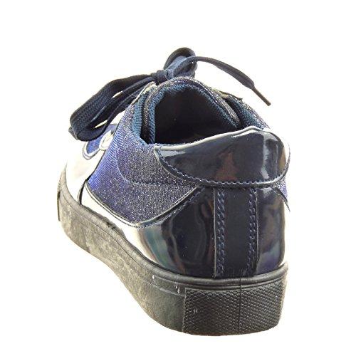 Sopily - Chaussure Mode Baskets Cheville femmes pailettes verni brillant Talon bloc 2.5 CM - Bleu