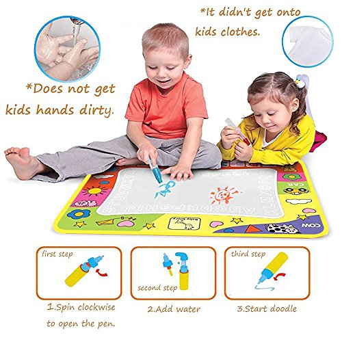 Magic Water Drawing Mat/Water Drawing Painting Mat(31.4in x 23.6in)with 4 Color, Magnetic Water Drawing Learning Painting Doodle Scribble Boards with Magic Pen for Kids