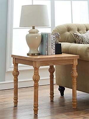 Ou0026K Furniture Farmhouse End Table Turned Legs, Side Table Living Room,  Bedroom, Natural Finish(1 Pcs)