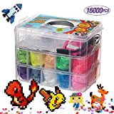 16000 Fuse Bead Kit-20 Color(5 Glow in The Dark),Small Iron,Full Size Pattern,Tweezers, Peg Boards, Ironing,Paper,Perler Beads Compatible