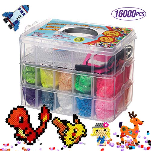 16000 Fuse Bead Kit 20 Color 5 Glow In The Dark Small Iron Full Size Pattern Tweezers Peg Boards Ironing Paper Perler Beads Compatible