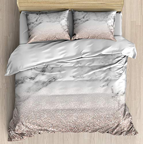 Rose Gold Glitter on Marble Duvet Cover Set Soft Comforter Cover Pillowcase Bed Set Unique Printed Floral Pattern Design Duvet Covers Blanket Cover Twin/XL Size