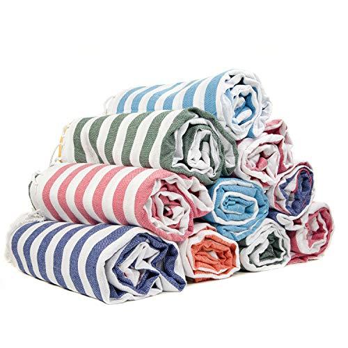 Gute (Set of 6) XXL Turkish Cotton Bath Beach Hammam Turkish Towel Sets Peshtemal Throw Fouta Blanket Set, Luxuries Towels (Monogrammed Turkish Beach Towels)
