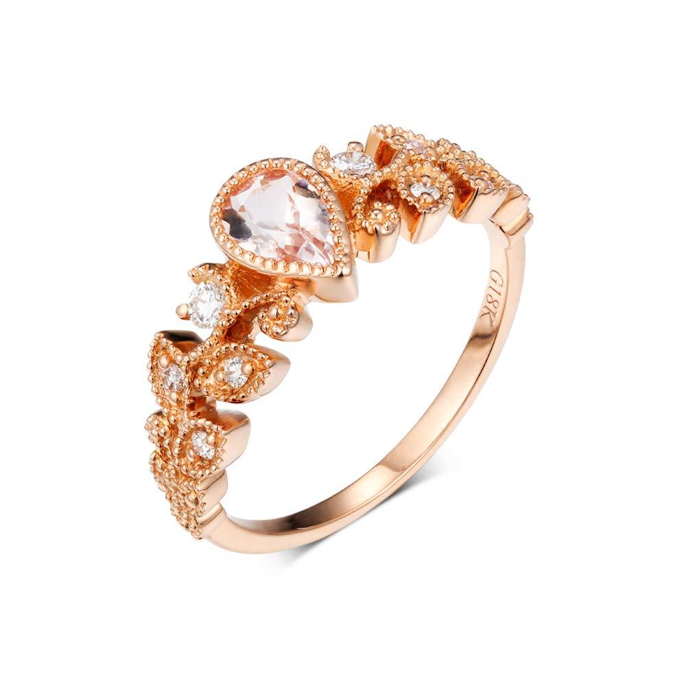 Women 14K Rose Gold Bridal Wedding Band Ring 0.01 Ct Natural Diamonds