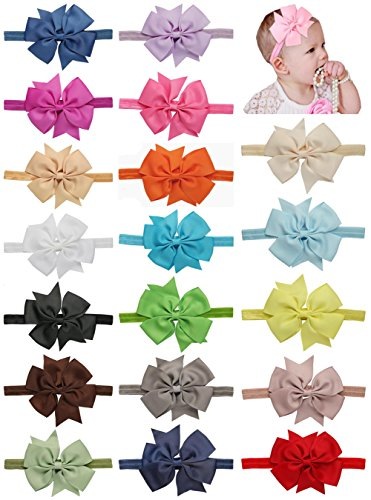 Baby Take A Bow Costume (Qandsweet 20pcs Baby Girls Headbands and Forked Tail Bow Photography (20 Colors 4