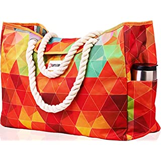 """Beach Bag XXL (HUGE). 100% Waterproof. L22""""xH15""""xW6"""". Cotton Rope Handles, Top Magnet Clasp, Two Outside Pockets. Rainbow Shoulder Beach Tote has Phone Case, Built-In Key Holder, Bottle Opener"""