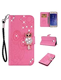 Cfrau Diamond Kickstand Case with Black Stylus for Samsung Galaxy J7 2018,Luxury Embossed Crystal 3D Owl Flower Bling Glitter Wallet PU Leather Shockproof Soft TPU Wrist String Case - Pink