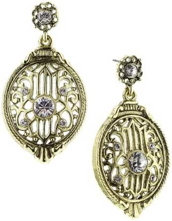 1928 Jewelry De Luca Armored City Gate Antique Crystal and Brass Tone Earrings