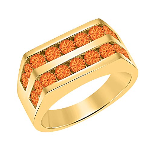 Orange Sapphire Wedding Set - Men's 14k Yellow Gold Plated Channel Set Round Orange Sapphire Wedding Band Anniversary Ring 925 Sterling Silver