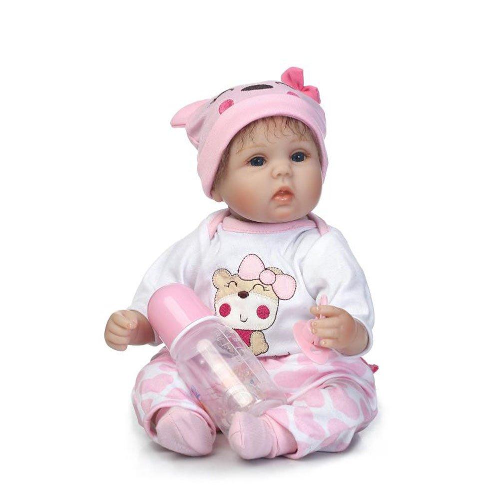 ZIYIUI 17 pulgadas 42cm Vinilo de silicona Suave Reborn Baby Doll Regalo para niños Compañero de juego Con un encantador Sombrero