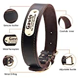 Taglory Genuine Leather Dog Collars, Military Grade Dog Training Collar for Small Medium Large Dogs, Soft and Durable Real Leather, Brown,Black