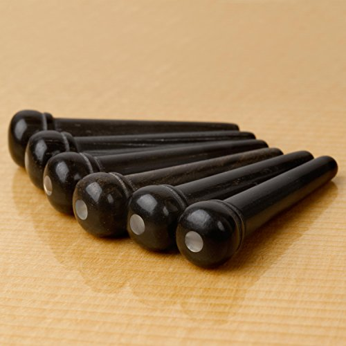Waverly Ebony Guitar Bridge Pins with Pearl Dot Inlay, Unslotted, Set of 6