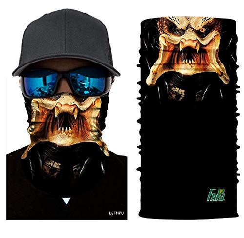 3D The Predator Face Tube Neck Face Scarf Lower Half Face Mask Motorcycle Bicycle Shield Sun Air Soft Outdoor Biker Riding Masks No.146 -