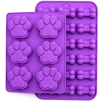 Puppy Dog Paw and Bone Silicone Mold, 2 Pack Set