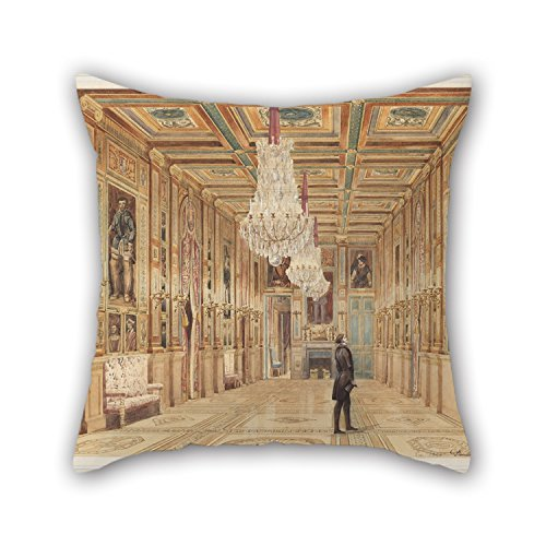 - Oil Painting Alexandre Dominique Denuelle - View Of The Picture Gallery At The Ch?teau D'Eu (Vue De La Galerie Au Ch?teau D'Eu) Pillowcase 20 X 20 Inches / 50 By 50 Cm For Girls,office,teens Boys,sof