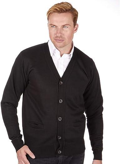 JACK NORTH Suéter de punto para hombre, cuello en V, botones completos, dos bolsillos delanteros, puños y dobladillo acanalados, diseño de tirón - ...