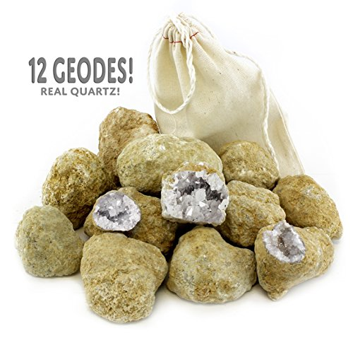 Attatoy Break Your Own Geodes 12-Rock Discovery Set Sizes from 2-Inch to 3-Inch, with Instructions & Cloth Bag (12-Piece Value Pack)