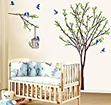 BIBITIME 8 Blue Birds Cages Green Tree Wall Sticker Home Decorative Mural Decal Art Vinyl Sticker Decor Decals for for bedroom ,DIY Size: 55.12 47.24 IN