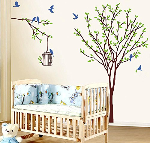BIBITIME 8 Blue Birds Cages Green Tree Wall Sticker Home Decorative Mural Decal Art Vinyl Sticker Decor Decals for for bedroom ,DIY Size: 55.12 47.24 IN (Blue Bird Decals Wall)