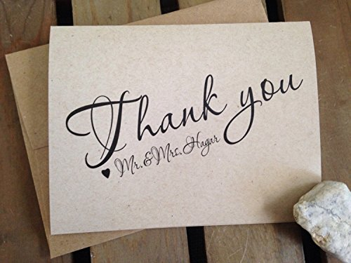 Thank you cards - Personalized with Names - WEDDING - CUSTOM - Rustic - Stationery - Recycled - Eco Friendly