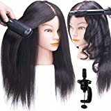 """SILKY 18-22"""" Real Hair Mannequin Head with 100% Human Hair Natural Black Dyed Training Head Hairdresser Cosmetology Doll Head with Free Clamp Stand"""