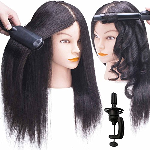 "SILKY 18-22"" Real Hair Mannequin Head with 100% Human Hair Natural Black Dyed Training Head Hairdresser Cosmetology Doll Head with Free Clamp Stand"