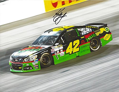 (AUTOGRAPHED 2015 Kyle Larson #42 Mello Yello Racing DARLINGTON THROWBACK CAR (On-Track) Sprint Cup Series Signed Collectible Picture NASCAR 9X11 Inch Glossy Photo with COA)