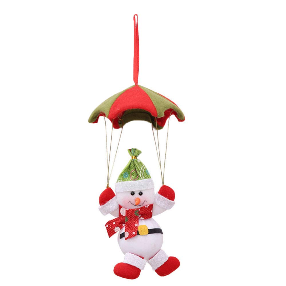 DMZing Christmas Tree Hanging Party Home Decor Ornament Gift Toys Dolls in Parachute Hallmark Decoration (White)
