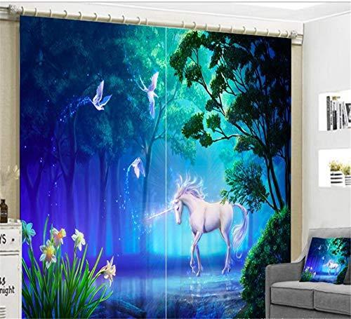 FaceToWind Wunderschön Cartoon Einhorn Vorhänge Luxus Blackout 3D Fenster Wohnzimmer Kinder Schlafzimmer Cortinas Vorhänge Rideaux W160cmxH160cm