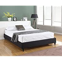 Home Life Cloth Linen Chinese Non Headboard Platform Bed with Slats, Twin, Black