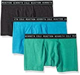 Kenneth Cole REACTION Men's 3 Pack Basic Trunk, Charcoal, Green, Turquoise, L