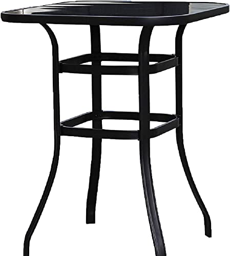 Emerit Patio Bar Tables, Outdoor Bistro Bar Height Table, Metal Frame Tempered Glass Table High Top