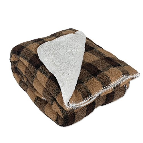 J&M Home Fashions Jacquard Check Plaid Sherpa Fleece Throw Blanket 50x60, Reversible Fuzzy Soft Warm Breathable Fluffy for Bed, Chair, Couch, Picnic, Camping, Beach, Travel-Brown -