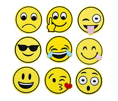 Emoji Embroidery Applique Decoration DIY Patch Set of 9 funny Custom design Emojies face kit iron on for shirt Jacket bag hat pant vest jean cotton clothes kid will love Great as happy birthday gift (Garden Party Quilt)