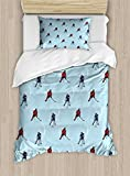 Ambesonne Sport Duvet Cover Set Twin Size, Abstract Lines Background Ice Hockey Pattern Competitive Match Winter Season, Decorative 2 Piece Bedding Set with 1 Pillow Sham, Blue Red Black