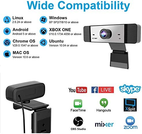 1080p Webcam with Microphone FHD Web Camera for Computers USB Video Streaming for PC Laptop Desktop Mac, No Delay Video Calling for Conference, Gaming, Online Classes 51GJ2KZ5SkL